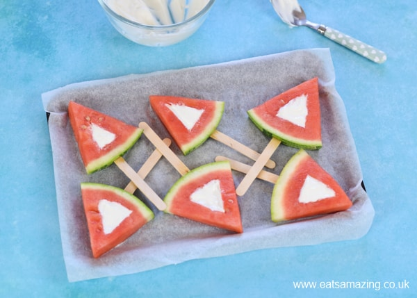 How to make frozen watermelon yogurt pops - easy recipe for kids step 6 fill with yogurt mixture