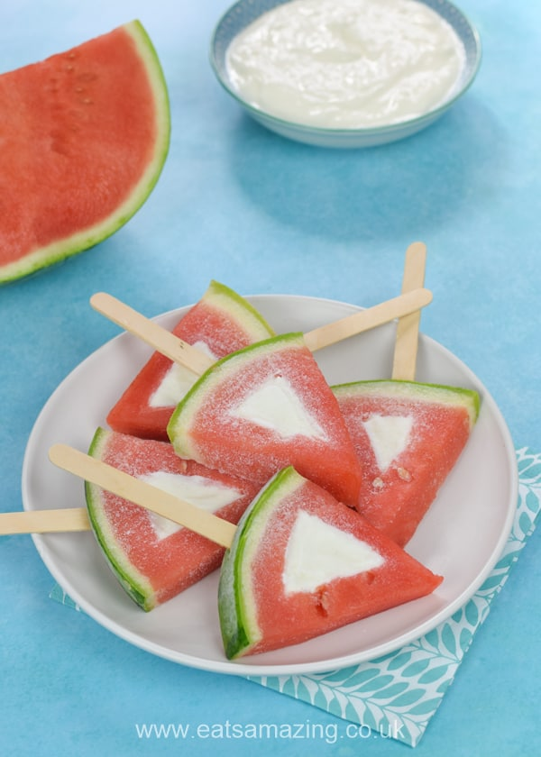 How to make frozen watermelon yogurt pops - easy recipe for kids that makes a great healthy summer treat