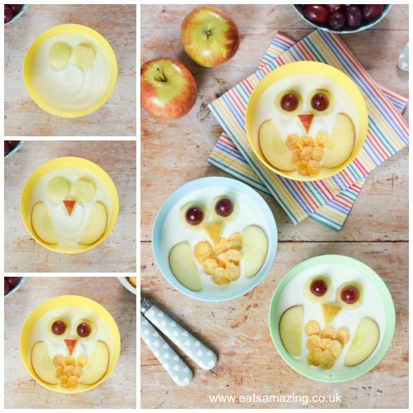 How to make fun and easy owl yogurt bowls for kids - easy recipe from Eats Amazing UK