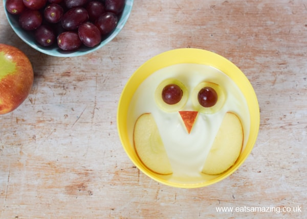 How to make fun and easy owl yogurt bowls for kids - step 5 add grapes to the eyes