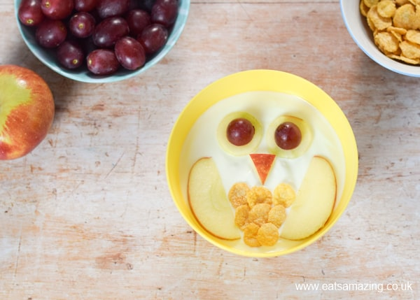 How to make fun and easy owl yogurt bowls for kids - step 6 add cereal tummy feathers
