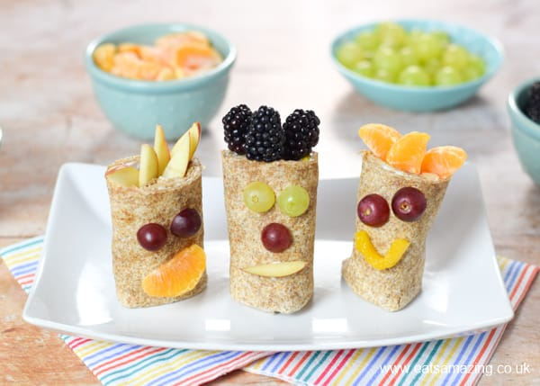 How to make fun fruit wraps with fruity funny faces - fun recipe for kids that is perfect for breakfast snack or dessert