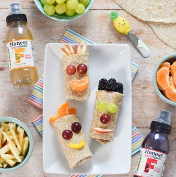 How to make funny face fresh fruit wraps - a fun and easy recipe for kids that is perfect for breakfast snacks and a healthy dessert