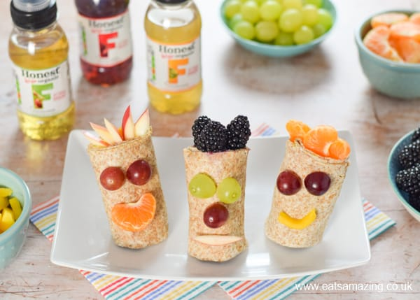How to make funny face fresh fruit wraps recipe - fun food for kids that is perfect for breakfast snacks or a healthy dessert