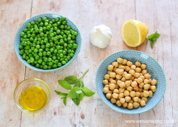 How to make simple pea and mint houmous - ingredients in bowls