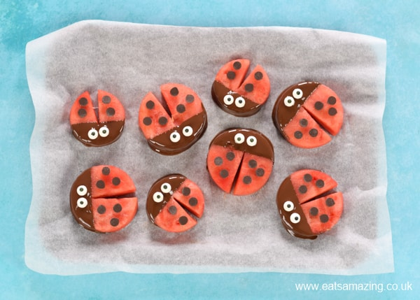 How to make watermelon ladybirds - step 5 decorate with chocolate chip spots