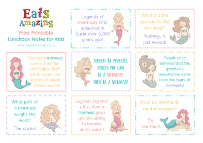Mermaid FREE Printable Lunchbox Notes for kids - head over to the blog post to download and print your own set