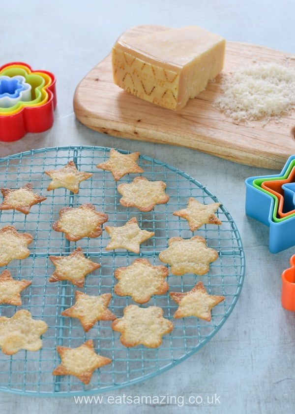 Quick and easy cheese baked tortilla chips with Grana Padano recipe - cut them into shapes with cookie cutters for a fun recipe to cook with kids