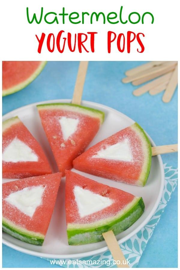 Super simple watermelon frozen yogurt pops recipe - fun and healthy frozen treat for kids this summer #EatsAmazing #summerfood #popsicles #icelollies #watermelon #frozenyogurt #kidsfood #healthykids #frozenfood #easyrecipe #recipeideas #familyfood #summer #kids
