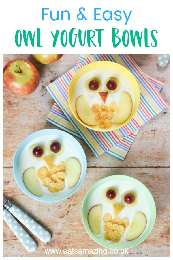 These cute owl yogurt bowls make a fun healthy breakfast snack or dessert for kids - super easy food art recipe with step by step photos and instructions #EatsAmazing #kidsfood #funfood #foodart #yogurt #breakfast #easyrecipe #cutefood #owl #recipe #healthykids #snacks #kids