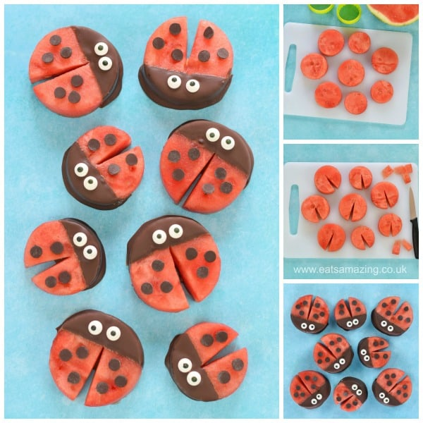 Watermelon Ladybugs fun food tutorial for kids from Eats Amazing UK