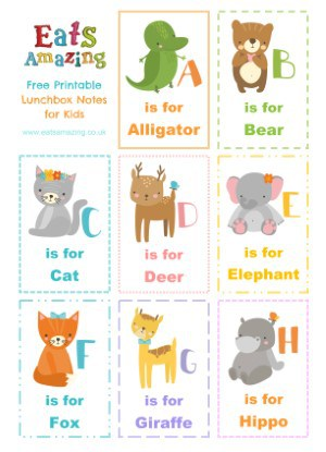 Animal Alphabet themed FREE Printable Lunchbox Notes for kids - head to the blog post to download and print your own set