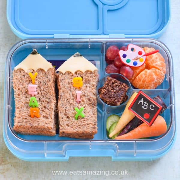 Cute and easy back to school lunch idea for kids with fun pencil sandwiches