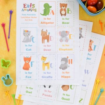 Dowload and print your FREE Animal Alphabet themed lunchbox notes for kids - these fun notes make cute lunch time surprises easy - just print and cut
