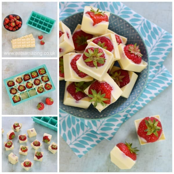 Easy white chocolate strawberry cubes recipe - fun summer treat idea from Eats Amazing UK