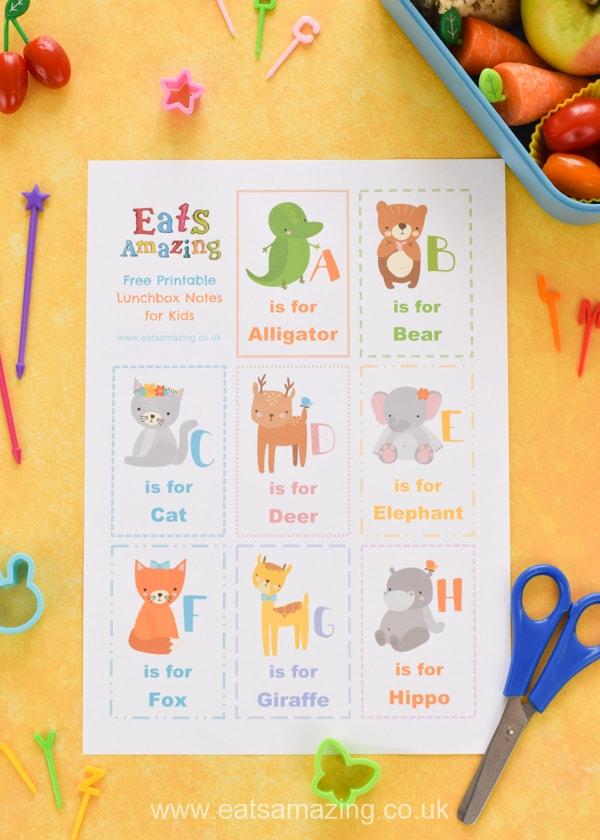 FREE Alphabet themed lunchbox notes for kids - download and print a set for a fun school lunch surprise your kids will love