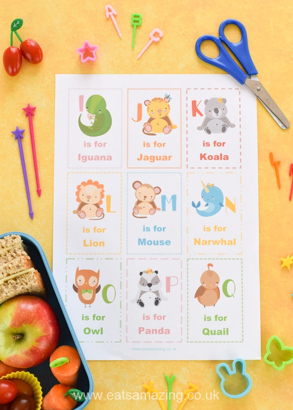 FREE Lunchbox notes for kids with a cute Alphabet animals theme - print your own copy to cut out for easy lunch box fun