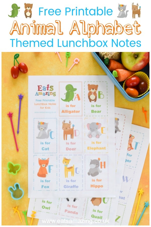 FREE Printable Lunchbox Notes for Kids - fun Animal Alphabet themed set with all 26 alphabet letters - click here to download for lunchtime fun #EatsAmazing #alphabet #lunchbox #backtoschool #lunchboxnotes #schoollunch #lunchnotes #kidsfood #funfood #bento #packedlunch #printable #freeprintable #kids