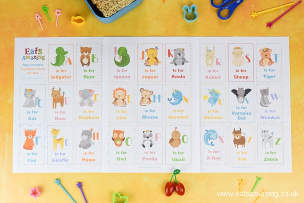 FREE lunch notes for kids - this printble set has a fun Animal Alphabet theme for easy packed lunch fun your kids will love