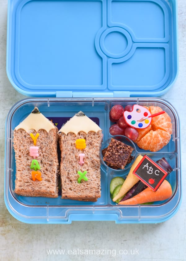 Fun back to school bento lunch idea for kids with pencil sandwiches