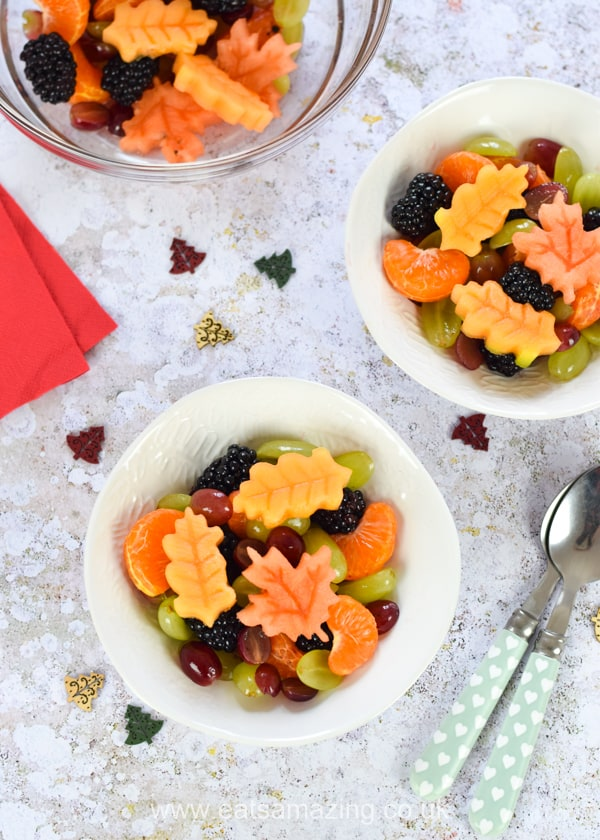 Gorgeous autumn fruit salad recipe with fruit leaves - fun and healthy dessert for kids