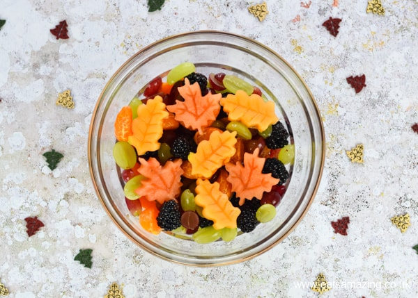 How to make a fun autumn leaf fruit salad - easy recipe for kids