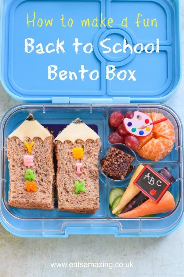 How to make a fun back to school bento lunch for kids with easy pencil sandwiches #EatsAmazing #bentobox #kidslunch #funfood #lunchbox #kidsfood #foodart #sandwichart #backtoschool #yumbox