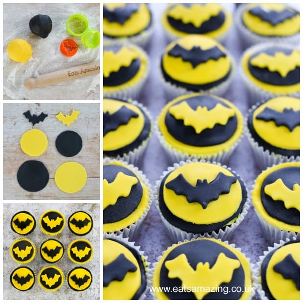 How to make fun and easy Batman cupcakes with step by step photo tutorial - Eats Amazing UK