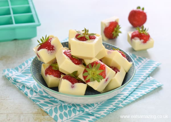 How to make white chocolate strawberries in an ice cube tray - easy summer recipe for kids