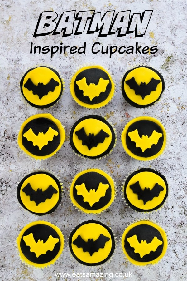Super easy Batman cupcakes recipe - perfect for kids party food or a superhero party