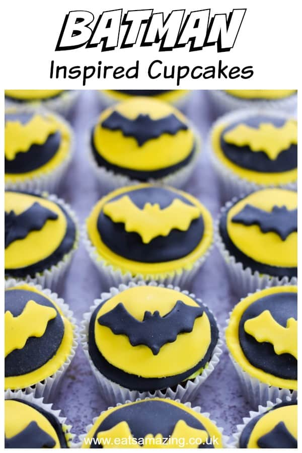 These easy Batman cupcakes make perfect superhero party food for kids #EatsAmazing #cupcakes #batman #partyfood #kidsfood #funfood #foodart #edibleart #cupcakerecipe #cakedecorating #superheroparty #easyrecipe