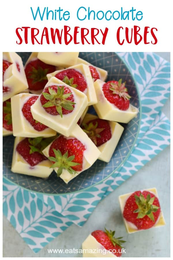 White chocolate covered strawberry cubes are easy to make and such a delicious summer treat for parties and weddings #EatsAmazing #summer #summerfood #strawberry #strawberries #whitechocolate #cookingwithkids #easyrecipe #funfood #chocolate #chocolate #homemade #weddingideas #picnic