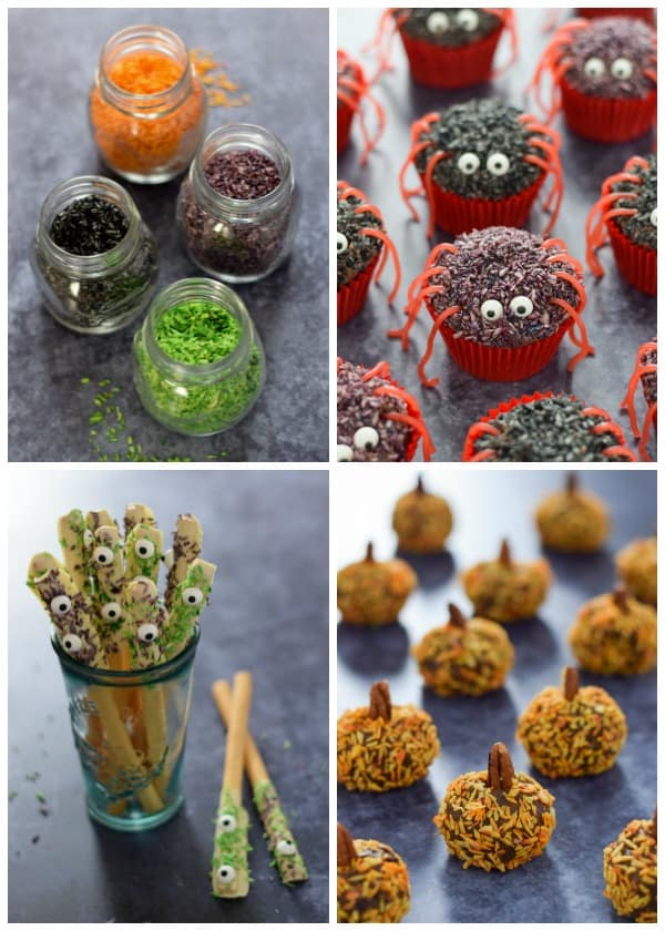 4 Fun Halloween recipes for kids made using homemade coconut sprinkles in spooky Halloween colours