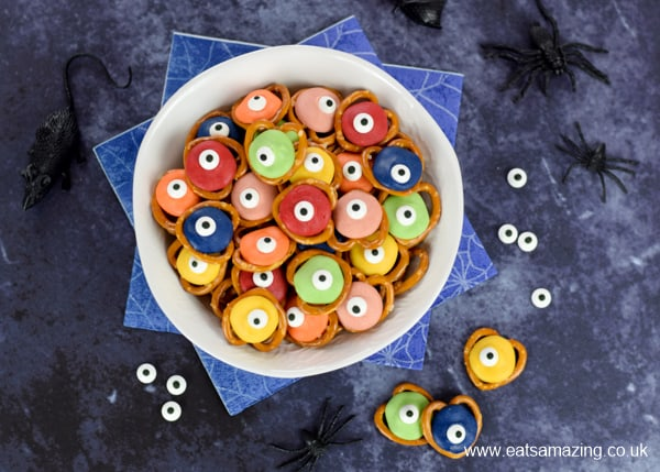 Cute and easy monster pretzels recipe with just 3 ingredients - great Halloween party treats for kids