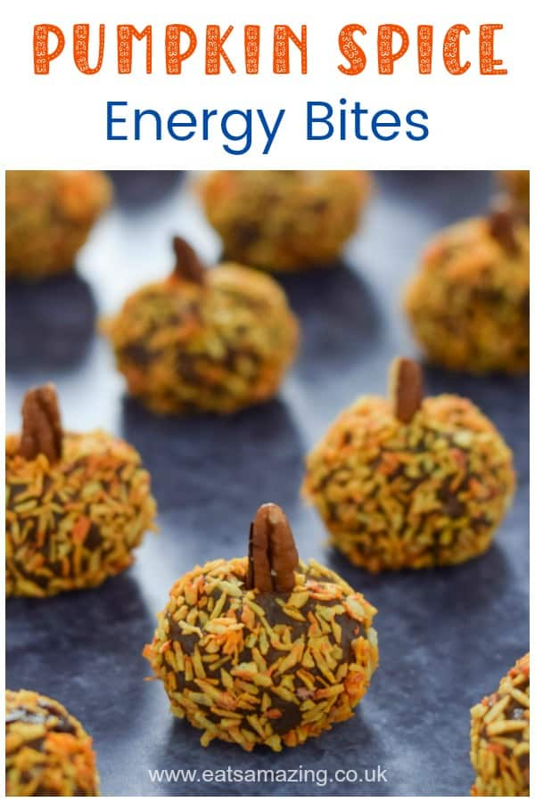 Cute pumpkin shaped pumpkin spice energy bites - a fun and healthy snack for kids this autumn #EatsAmazing #pumpkinspice #funfood #kidsfood #foodart #energyballs #healthysnacks #halloween #halloweenfoods #pumpkin #healthykids