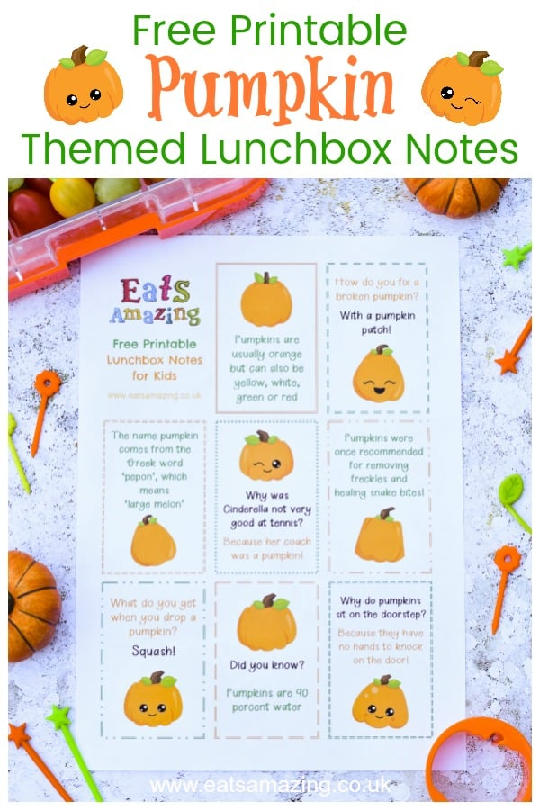 Download these FREE printable pumpkin themed lunchbox notes for kids with pumpkin jokes and pumpkin fun facts - perfect for Halloween #EatsAmazing #lunchbox #lunchboxnotes #schoollunch #lunchnotes #kidsfood #funfood #bento #packedlunch #printable #freeprintable #jokes #funfacts #facts #pumpkin #halloween