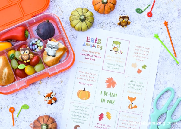 Download your FREE printable lunchbox notes for kids - fun Autumn themed lunch notes with fun facts and jokes