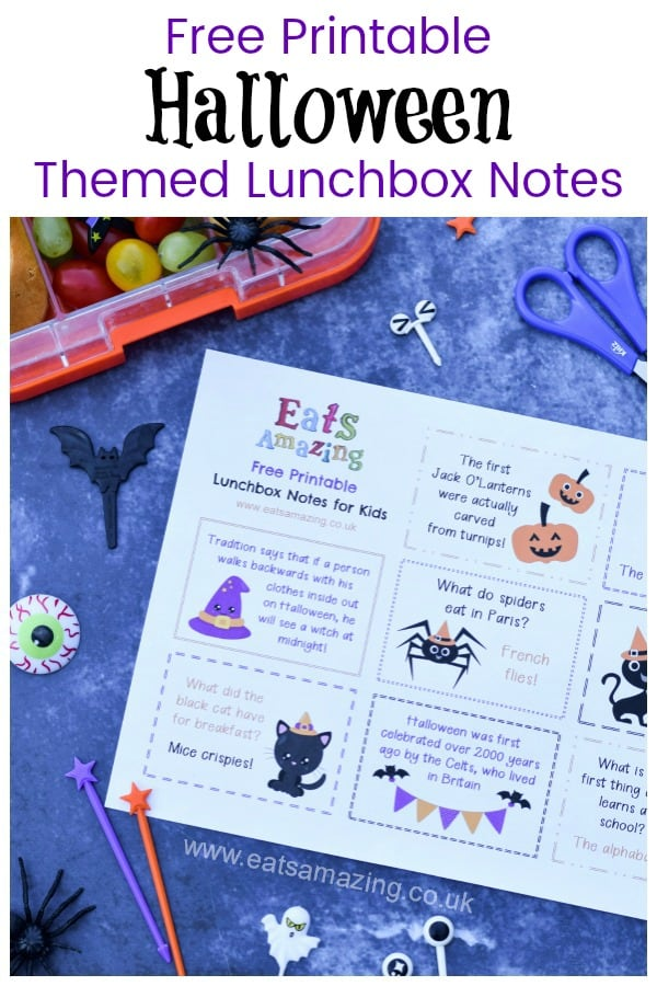 Download your FREE printable lunchbox notes for kids - fun Halloween themed lunchbox notes for popping in lunch boxes and school bags #halloween #halloweenfun #EatsAmazing #lunchbox #lunchboxnotes #schoollunch #lunchnotes #kidsfood #funfood #bento #packedlunch #printable #freeprintable #jokes