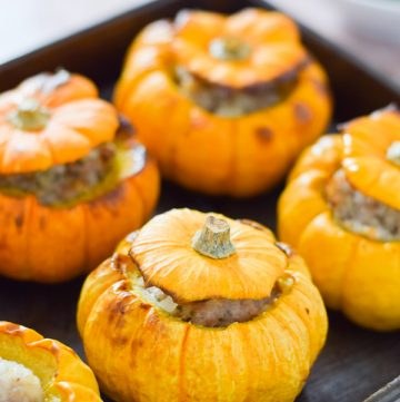 Easy oven baked sausage stuffed mini pumpkins - a fun family recipe idea for Halloween or Bonfire Night