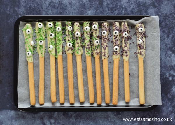 Edible Monster Breadstick Wands recipe - step 4 chill until the chocolate has set