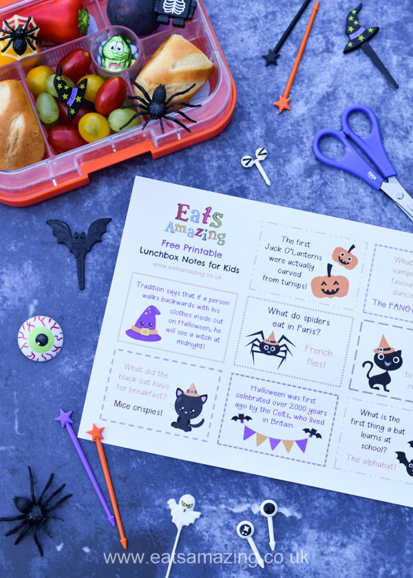 FREE Printable Halloween Lunch Notes for Kids - perfect for adding spooky fun to lunch boxes and school bags