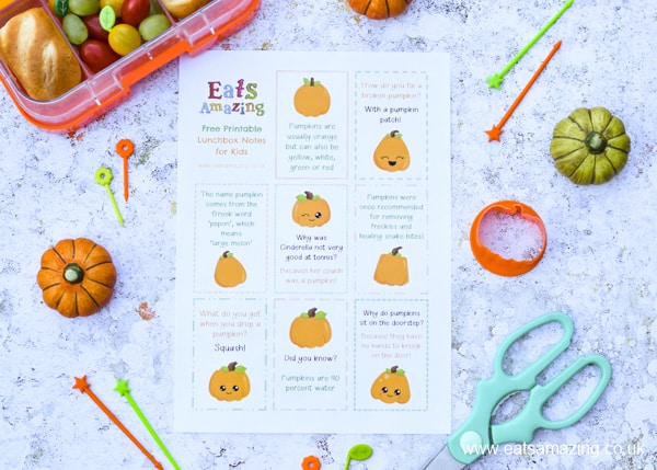 FREE Printable Pumpkin lunchbox notes for kids - with pumpkin jokes and pumpkin fun facts