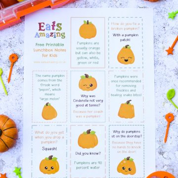 FREE Printable Pumpkin themed lunchbox notes for kids - perfect for popping in lunch boxes and school bags this October