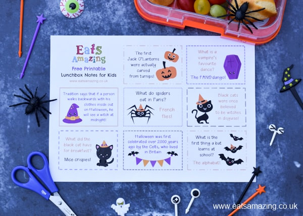 FREE Printable lunchbox notes for kids - this fun Halloween set has lots of Halloween jokes and fun facts