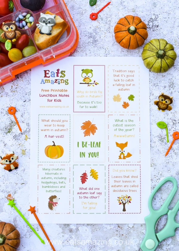 FREE cute autumn lunchbox notes for kids to download and print - with fun Autumn facts and jokes for school