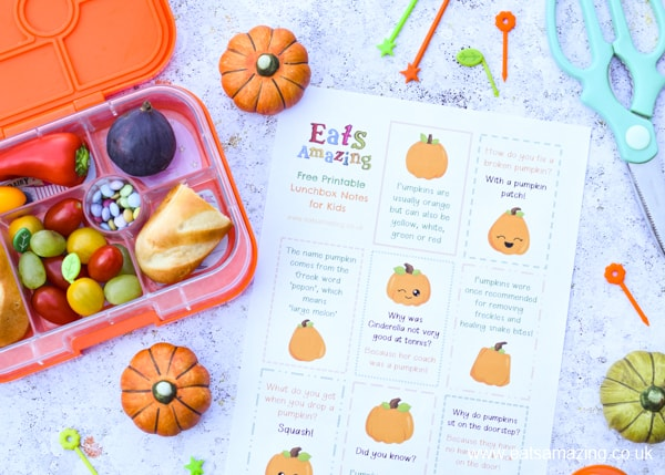 FREE pumpkin lunch notes to download and print - pop in kids lunch boxes and lunch bags for a fun lunch time surprise in Halloween season
