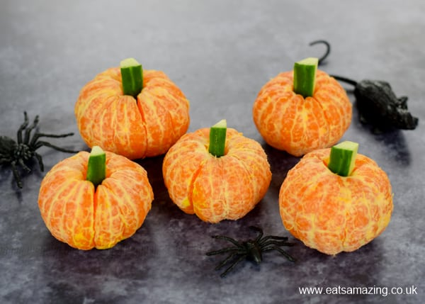Fun Clementine Pumpkins Tutorial - easy healthy Halloween party food for kids