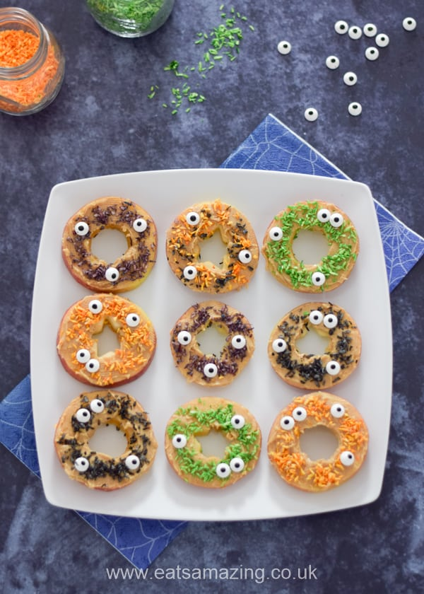 Fun Halloween food for kids - This monster apple donuts recipe makes a fun healthy snack