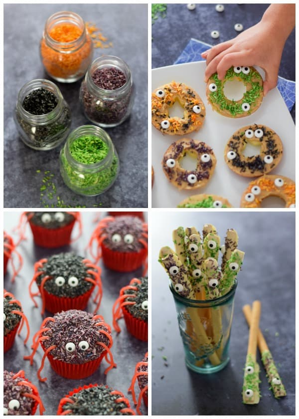 Fun Halloween recipes for kids made using homemade coconut sprinkles in spooky Halloween colours