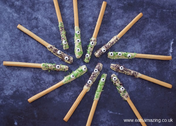 Fun Monster breadsticks recipe - quick and easy Halloween party food idea for kids
